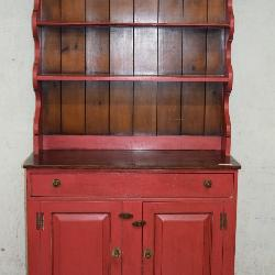 Red Painted Kitchen Cupboard