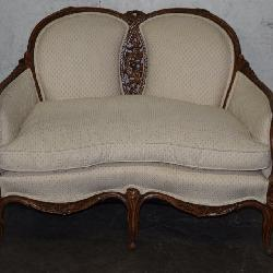 Fine Carved French Walnut Love Seat