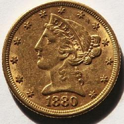 1880 US Liberty Head $5 Gold Coin