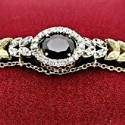 Garnet & Diamond Bracelet In 14K Gold