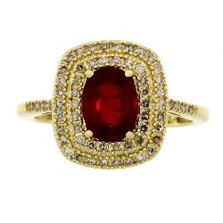 1.88ct Ruby/Diamond Halo Ring 14KT