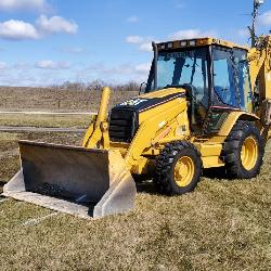 2002 Caterpillar Model 420D 4 x 4 Extended Backhoe w/ Enclosed Climate Controlled Cab, 3881 Hours, s/n CAT0420DEFDP08103