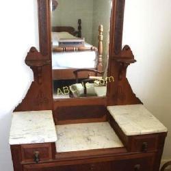 Marble Top Vanity w/drop Center, Lamp Shelfs