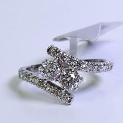 1CTTW 14K White Gold Two Stone Diamond Ring