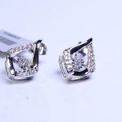 1/5TW 10K White Gold Diamond/Motion Earrings