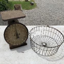 Vintage scale & egg basket