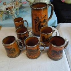 Staffordshire (England) Cider Pitcher & 6 Mugs