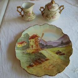 Elite Limoges Sugar & Creamer, Windmill Plate