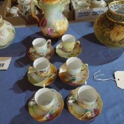 Chocolate Pot with Cups & Saucers AK Limoges
