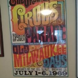 Framed Schlitz Circus Poster 1969