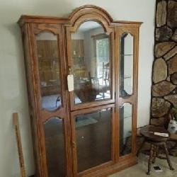 Oak Curio Cabinet - Lighted, Glass Bevel Shelves