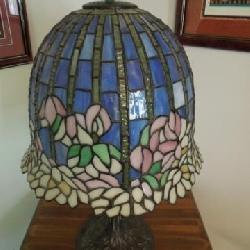 Tiffany Shade Leaded Lamp with Brass Base