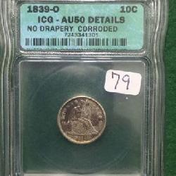 1839-O ICG AU50 Details 10¢ US Silver Dime