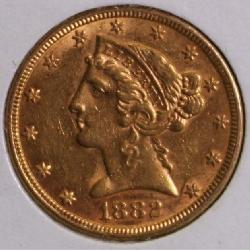 1882 Gold $5 Liberty Head Half Eagle U.S. Coin