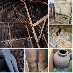 Milk Cans, Crocks, Bottles, Hoosier Cabinet, Barn Hay Mound / Loft