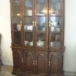 Ethan Allen Brown Cherry Lighted China Cabinet