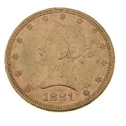 1881 Liberty Head $5 Eagle Gold Coin