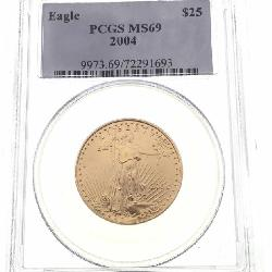 GRADED 2004 American Gold Eagle $25 PCGS MS69