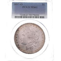 GRADED! 1897 O Morgan Silver Dollar PCGS MS61