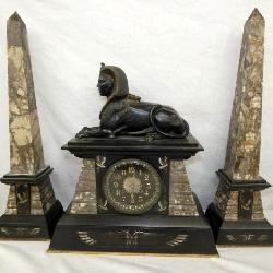 EARLY MARBLE CASE MANTEL CLOCK W/ COMPANIONS