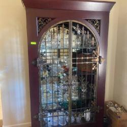 Wrought iron front curio display cabinet