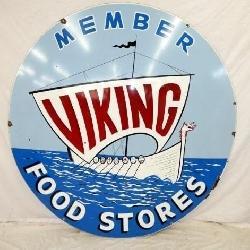 6FT. PORC. VIKING FOOD STORE SIGN