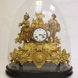 19th century French gilt bronze keywind clock