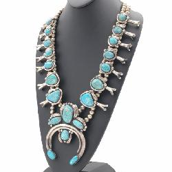 NATIVE AMERICAN STERLING SILVER & TURQUOISE SQUASH BLOSSOM