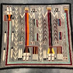 LARGE NAVAJO HAND WOVEN PICTORIAL YEI RUG