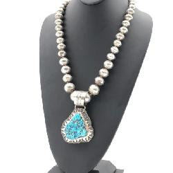 RANDY HOSKIE STERLING SILVER & TURQUOISE NUGGET NECKLACE