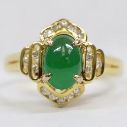 14k Jadeite diamond ring w/ GIA certificate