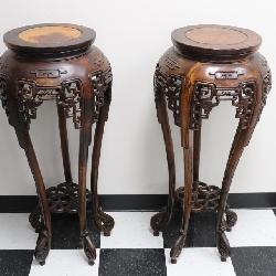 Pair Chinese rosewood pedestal stands