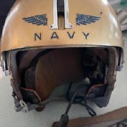 VIETNAM ERA APH-5 NAVY FLIGHT HELMET / GENTEX?. HAS earphones. , CORDS sun visor, GOLD & BLUE in can