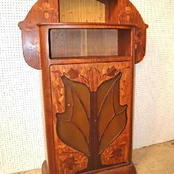 ca 1902 walnut and exotic wood inlay of leaves and flowers vitrine, marked L. Majorelle Nancy , original found condition missing the back fabric. This piece was designed for Jansen Showroom Paris 1902