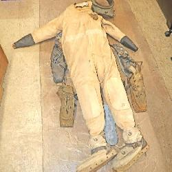 Antique Marvel canvas diving suit with 3 pairs of lead shoes and a diving collar by AJ Morse and Sons approx. 6 Feet Tall