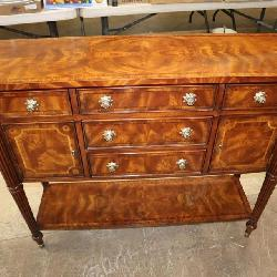 Awesome Theodore Alexander burl mahogany banded 5 drawer 2 door brandy board approx. 42