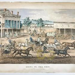 Currier and Ives (Publisher): Going To The Trot A Good Day Good Track, Hand Colored Litho, 1869