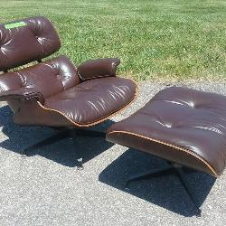 Mid Century Modern Herman Miller Eames Style Chair and Ottoman
