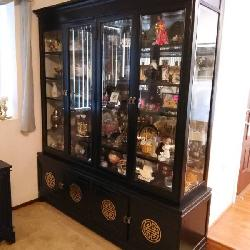 Oriental black lacquer display cabinet