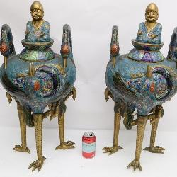pair vintage Chinese large covered censer