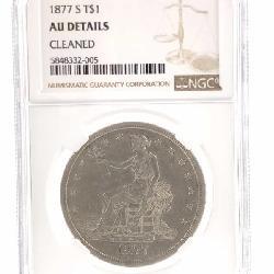 1877 (S) SILVER TRADE DOLLAR NGC AU