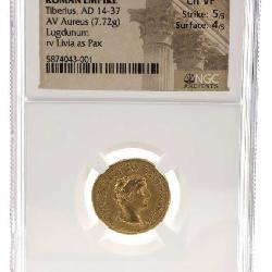 AD 14-37 ROMAN EMPIRE TIBERIUS, LUGDUNUM RV LIVIA AS PAX NGC CH VF