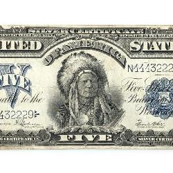 ANTIQUE 1899 $5 SILVER CERTIFICATE INDIAN CHIEF NOTE