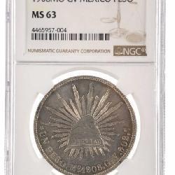 1908 MO GV SILVER MEXICO PESO NGC MS-63