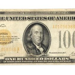 1928 $100 GOLD CERTIFICATE NOTE FR. 2405