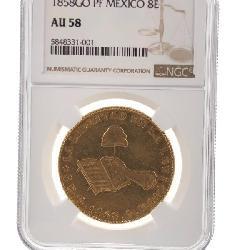 ANTIQUE 1858 GO-PF MEXICO GOLD 8 ESCUDOS NGC AU-58