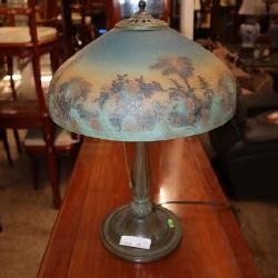Antique Bradley Hubbart reverse painted table lamp approx. 14