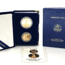 1987 1.5 OZ 2-COIN AMERICAN GOLD EAGLE PROOF SET
