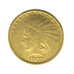 1907 INDIAN HEAD $10 DOLLAR GOLD EAGLE