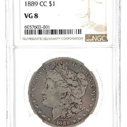 RARE!! 1889 CC MORGAN SILVER DOLLAR NGC VG 8